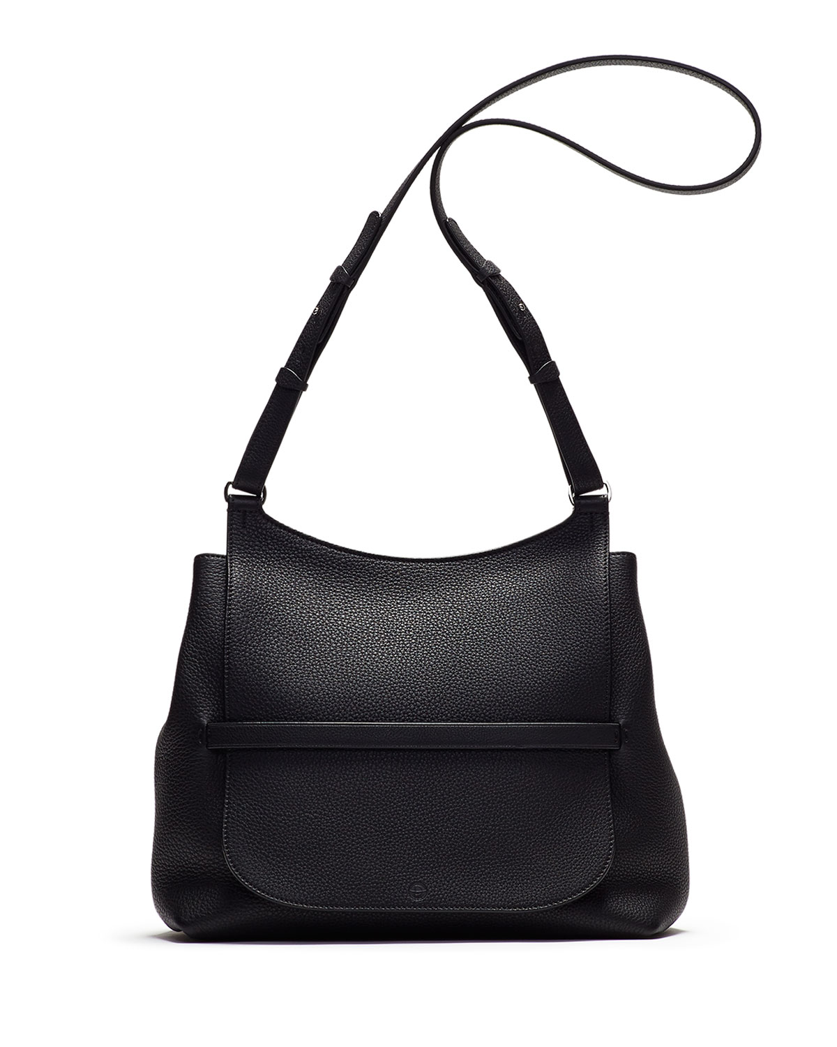 Sideby Pebbled Calfskin Crossbody Bag, Black