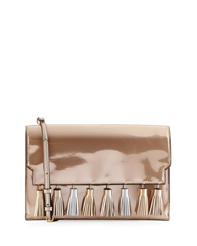 Sofia Tassel Patent Leather Clutch Bag, Pink
