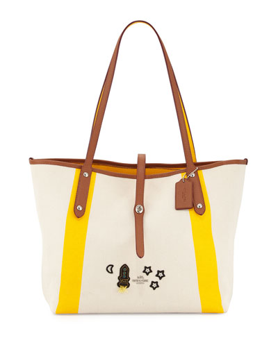 Market Space Appliqué Tote Bag, Neutral/Yellow