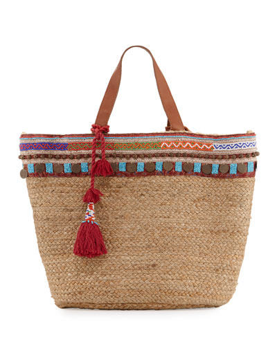 Marrakesh Embroidered Straw Beach Tote Bag, Beige