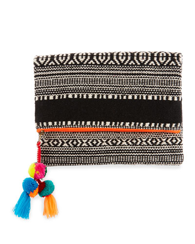 Sergovia Embroidered Fold-Over Clutch, Orange/Black/White