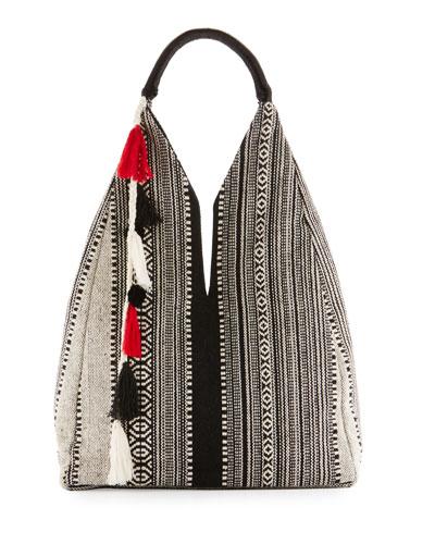 Zuri Embroidered Large Beach Tote Bag, Black
