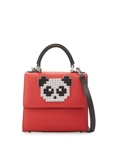 Mini Alex Panda Shoulder Bag, Red/Black