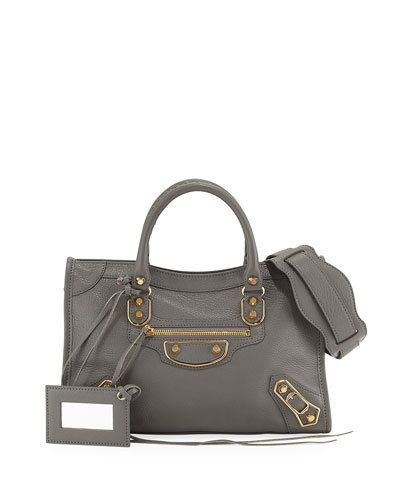 Classic Metallic Edge City Small Tote Bag, Neutral