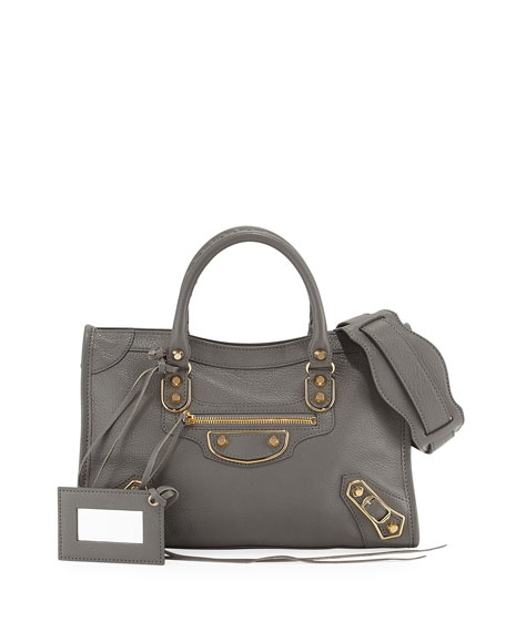 Balenciaga Classic Metallic Edge City Small Tote Bag, Neutral