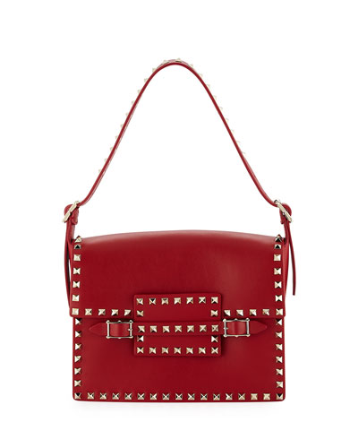 Medium Rockstud Short Shoulder Bag, Red