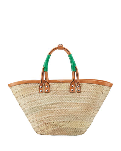 Bistro Panier Small Straw Tote Bag, Green