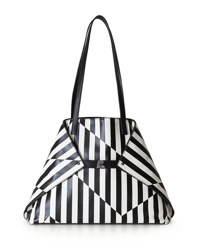 Ai Medium Striped Convertible Tote Bag, Black/White