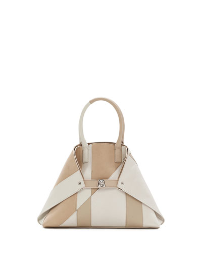 Ai Small Patchwork Python Shoulder Bag, White/Brown