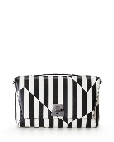 Anouk Geo Striped Leather Shoulder Bag, Black/White