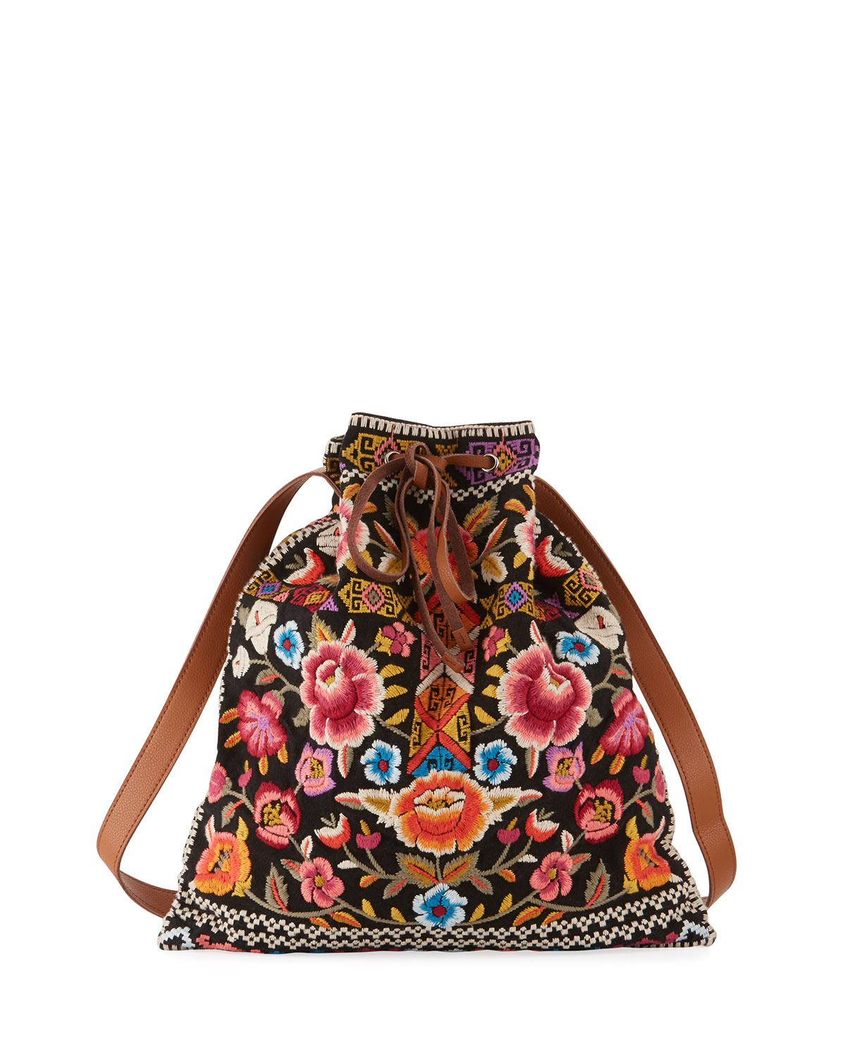 Johnny Was Anaya Embroidered Drawstring Tote Bag