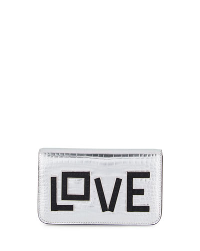 Ginny Black Widow Clutch Bag, Silver
