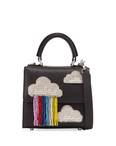 Micro Alex Cloud Fringe Bag, Black