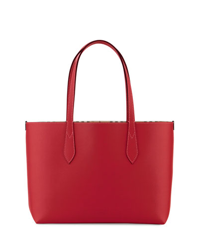 Lavenby Small Reversible Check & Leather Tote Bag, Red