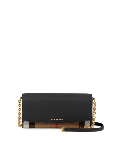 Henley Check & Leather Wallet-on-Chain, Black