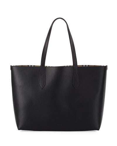 Lavenby Medium Reversible Check & Leather Tote Bag, Black