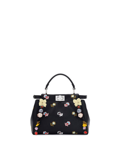 Peekaboo Mini Floral-Embroidered Satchel Bag, Black
