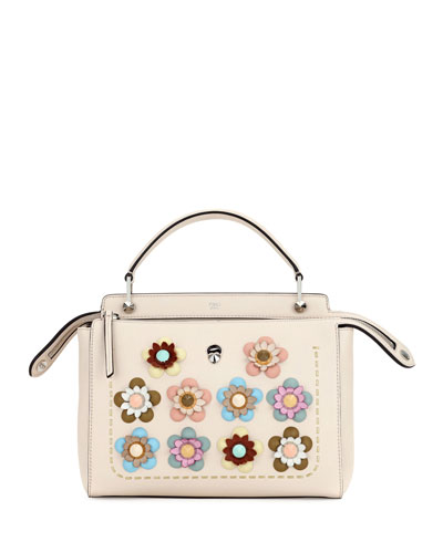 Dotcom Medium Flower Studded Satchel Bag, Beige