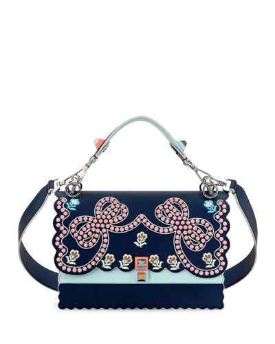 Kan I Studded Bows Top-Handle Shoulder Bag, Blue