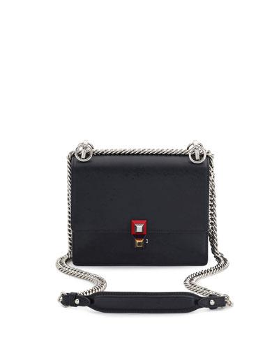 Kan I Mini Leather Chain Shoulder Bag, Black