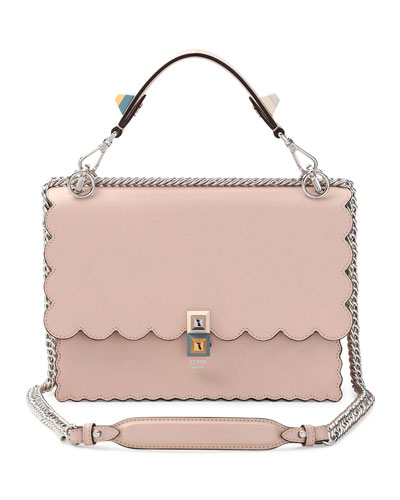 Kan I Scalloped Leather Shoulder Bag, Pink