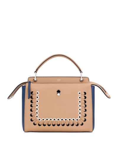 Dotcom Medium Colorblock Whipstitch Satchel Bag, Brown/Blue