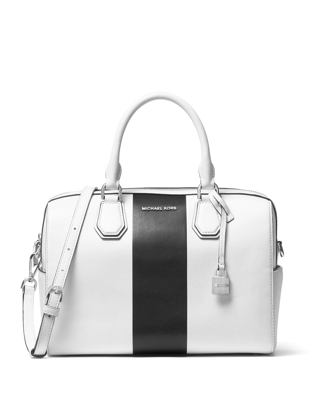 Mercer Medium Striped Duffel Bag, White/Black