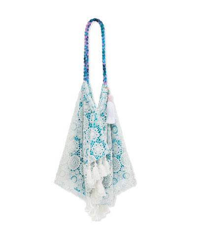 Sunset Crochet-Trim Tassel Beach Bag, Fiesta Red
