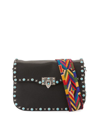 Rockstud Rolling Shoulder Bag with Woven Strap
