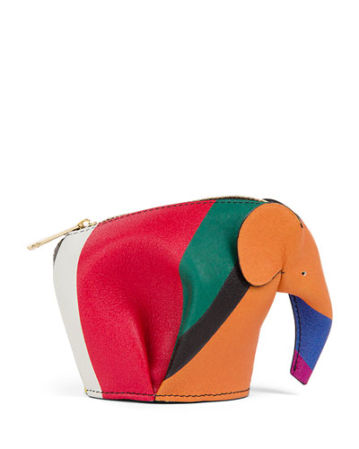 Colorblock Leather Elephant Coin Purse