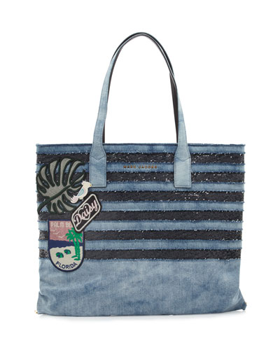 Wingman Striped Denim Tote Bag
