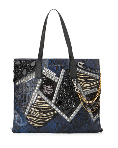 Wingman Snake-Embossed Tote Bag, Cobalt/Multi