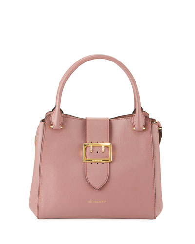 Buckle Medium Leather Tote Bag, Pink