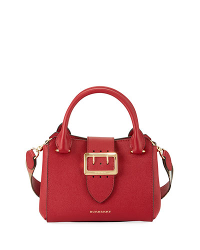 Buckle Small Leather Tote Bag, Red