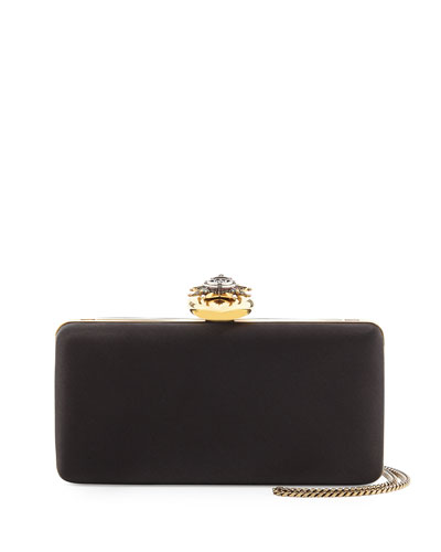 Satin Heart-Clasp Frame Clutch Bag