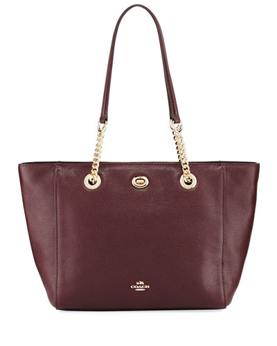 27 Turnlock Chain Tote Bag, Oxblood