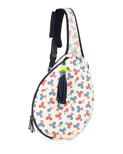 Racquet-Print Tennis Racket Sling Bag, Multi