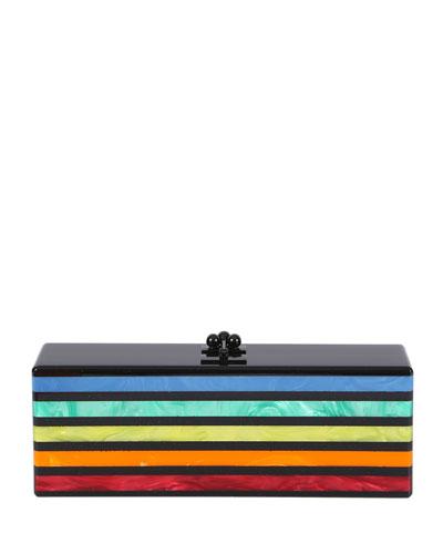 Flavia Striped Acrylic Clutch Bag, Obsidian /Rainbow
