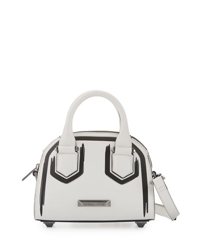 Holly Mini Leather Satchel Bag, White/Black