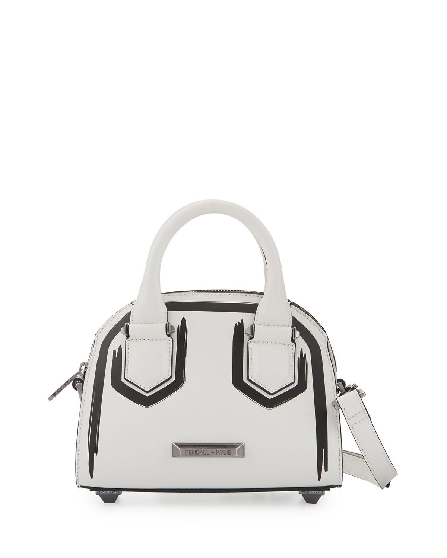 Holly Mini Leather Satchel Bag, White/Black