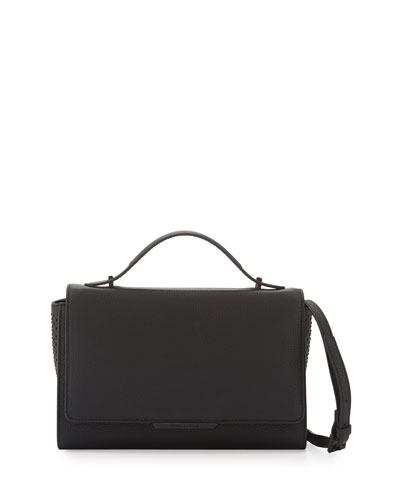 Zoe Leather Shoulder Bag, Black