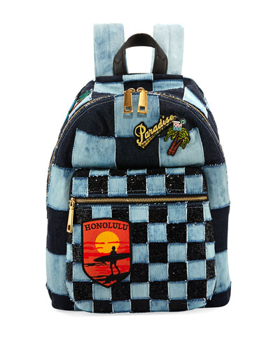 Biker Patchwork Denim Backpack