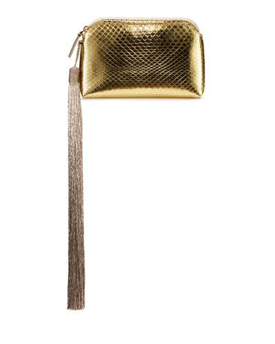 Mini Metallic Snakeskin Tassel Wristlet Wristlet Clutch Bag