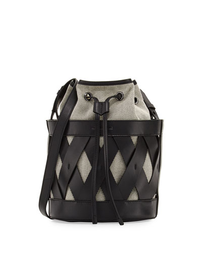 Mia Caged Leather Bucket Bag, Black/Multi
