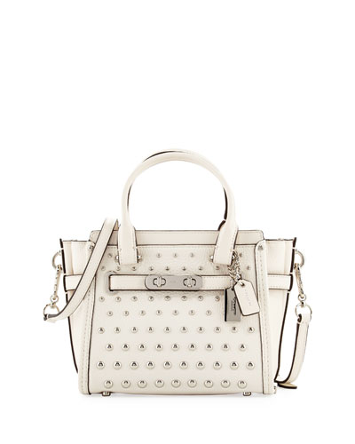 Swagger 21 Ombre-Rivet Leather Satchel Bag, Chalk