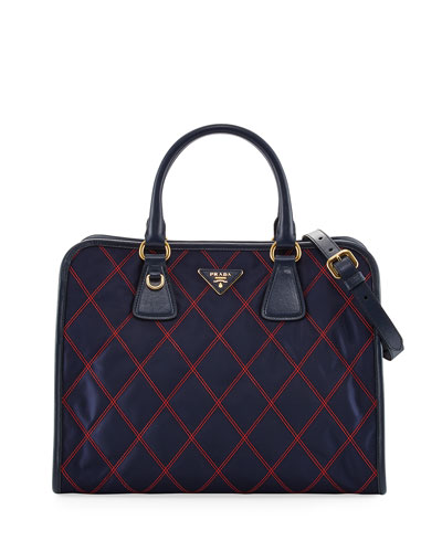 Bicolor Quilted Nylon Medium Top Handle Bag