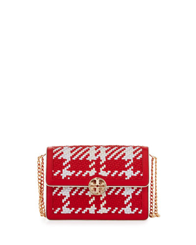 Duet Chain Woven Convertible Shoulder Bag, Cherry Apple/New Ivory