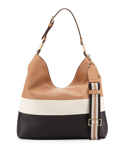 Duet Striped Leather Hobo Bag