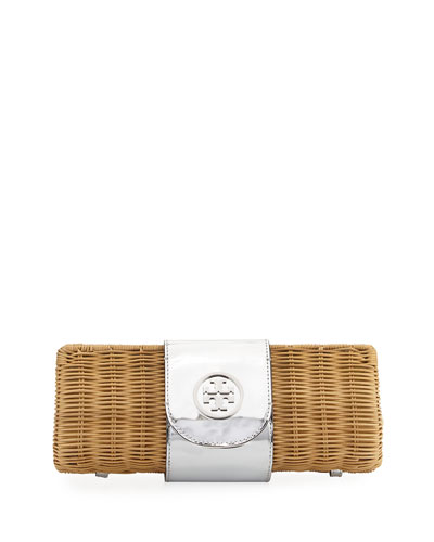 Rattan Straw Metallic Clutch Bag