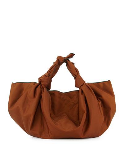 The Ascot Knot Nylon Hobo Bag, Saddle